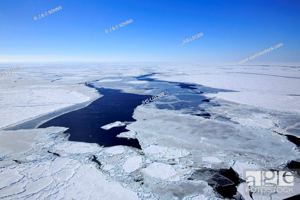 Stock Photo: Pack Ice, Magdalen Islands, Gulf of St. Lawrence, Quebec, Canada, North America, aerial view in winter.