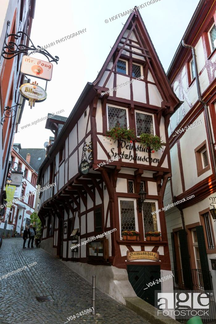 Stock Photo: Picturesque timbered houses in the beautiful village of Bernkastel-Kues, Rhineland-Palatinate, Germany, Europe.