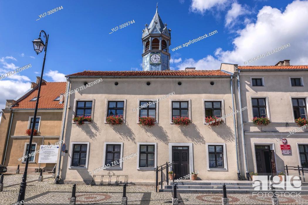 Stock Photo: City Hall building in Barczewo town, Warmian-Masurian Voivodeship of Poland.