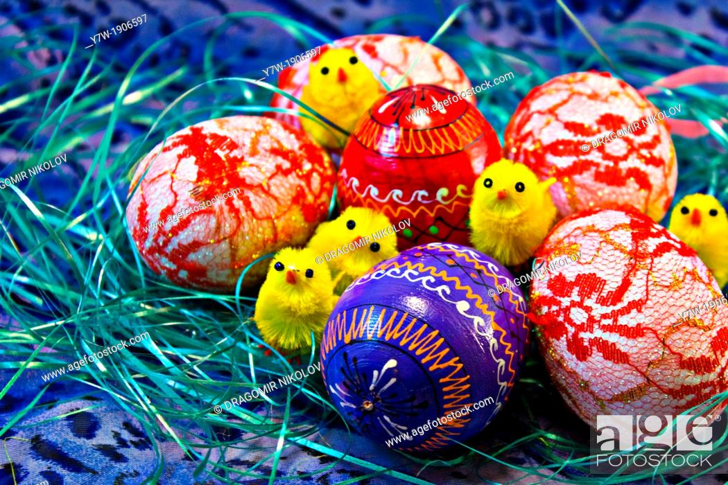 Stock Photo: Easter Eggs with Chicken.