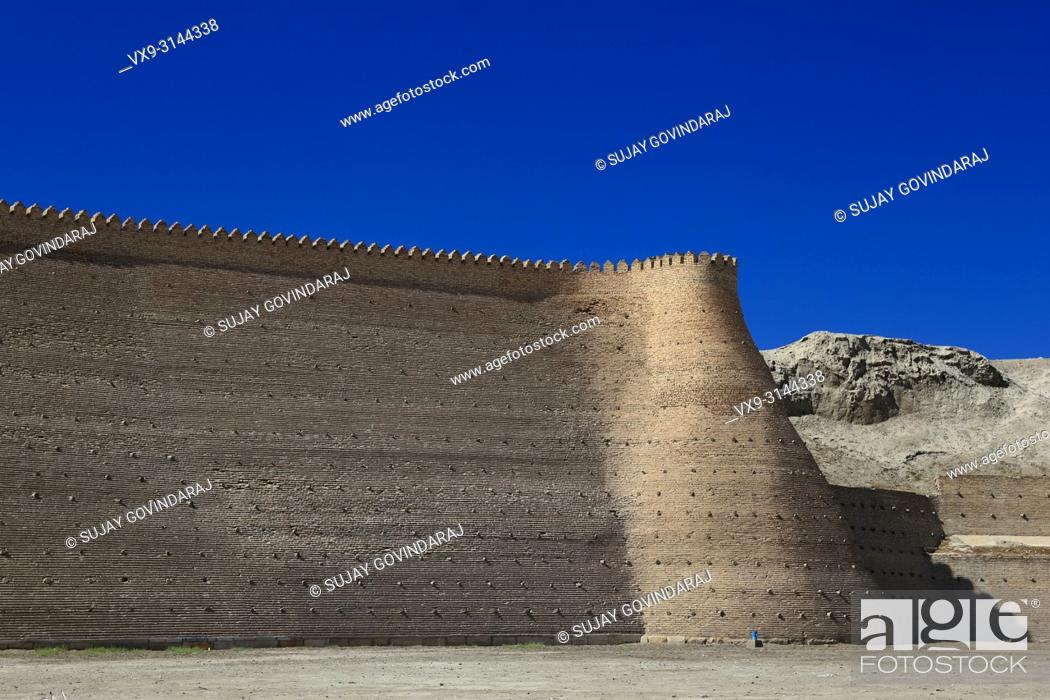 Stock Photo: Walls of Great Ark Fortress of Bukhara, a renowned heritage site of Silk Road time in Uzbekistan.