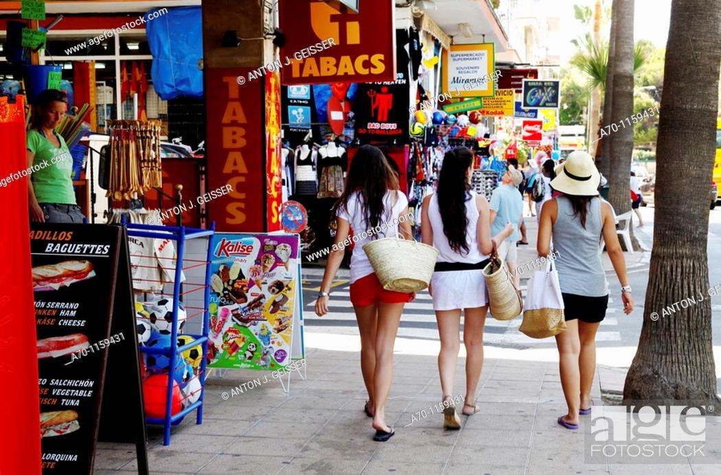 Stock Photo: Young girls , shopping , palma de mallorca.
