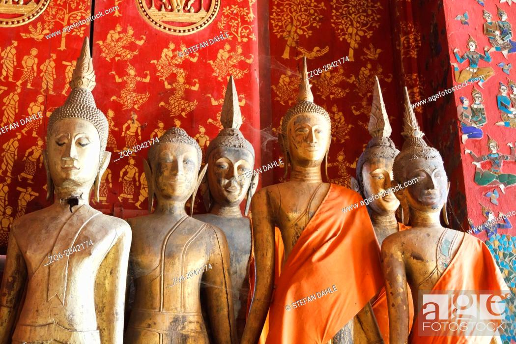 Stock Photo: Statues in the Temple Vat Xieng Thong in Luang Prabang, Laos.