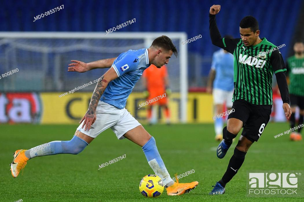 Stock Photo: Lazio footballer Sergej Milinkovic-Savic and Sassuolo footballer Rogerio during the match Lazio-Sassuolo in the olympic stadium.