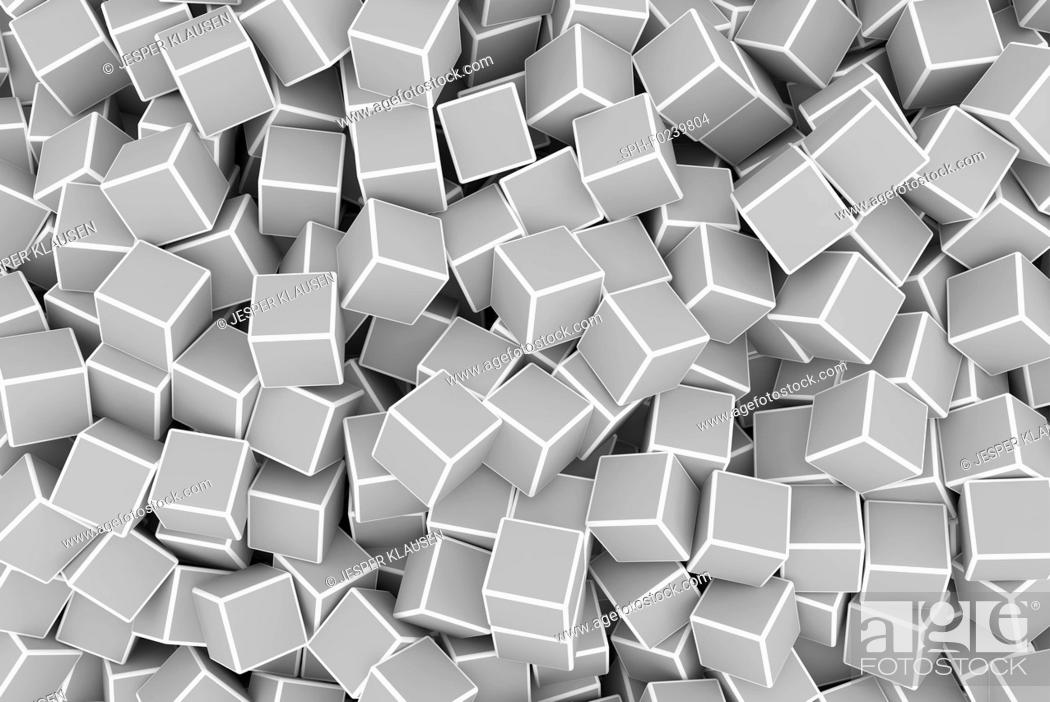 Stock Photo: Chaotic grey 3d cubes background, illustration.