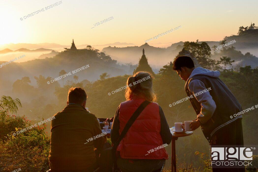 Stock Photo: Myanmar, Rakhine State, Mrauk U, Morning tea at sunrise.
