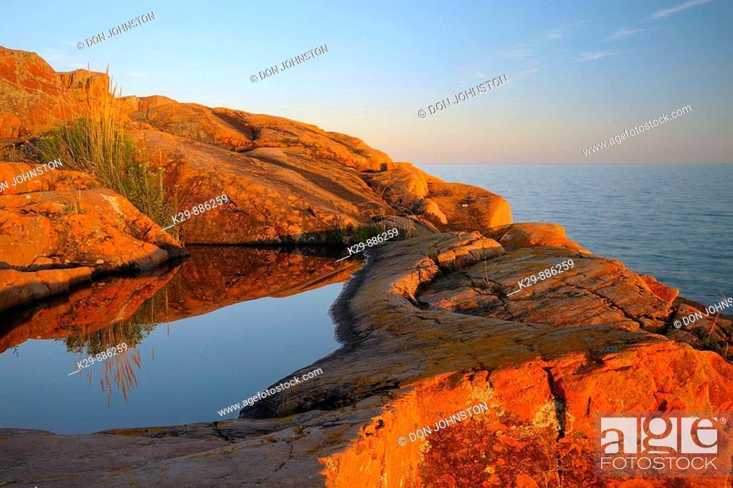 Stock Photo: Granite Georgian Bay shoreline near sunset.