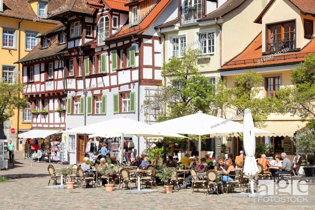 Stock Photo: Cafe at palace square, Meersburg, Lake Constance region, Baden-Württemberg, Germany.