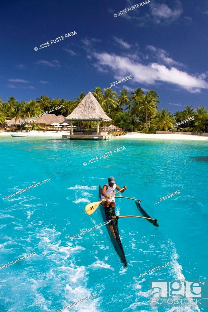 Stock Photo: Canoe, Matira, Bora Bora island, Society Islands, French Polynesia (May 2009).