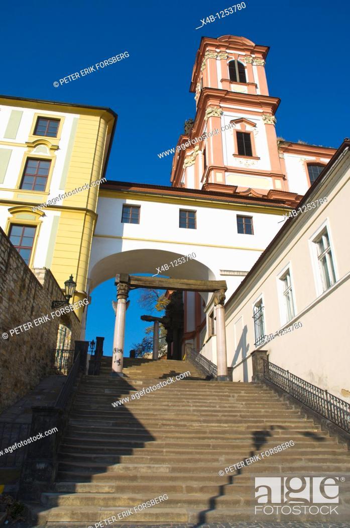 Stock Photo: Jesuit stone staircase leading to Jesuitska street central Litomerice north Bohemia Czech Republic Europe.