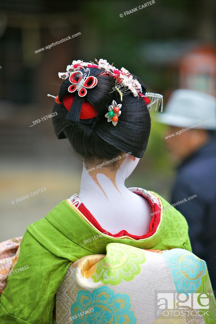 Stock Photo: A Geisha taking part in the Setsubun Rituals at Yasaka Shine.