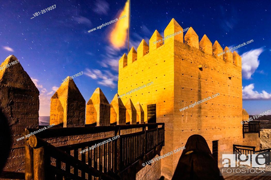 Imagen: Alcazaba castle at night. Tabernas village, Almeria, Andalusia, Spain.