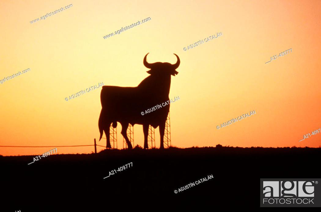 Stock Photo: Bull silhouette, typical advertising of Spanish brandy Osborne. Navarre, Spain.