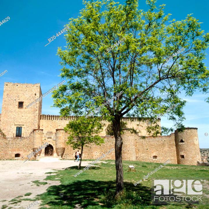 Stock Photo: 15th century castle, Pedraza de la Sierra, Segovia province, Spain.