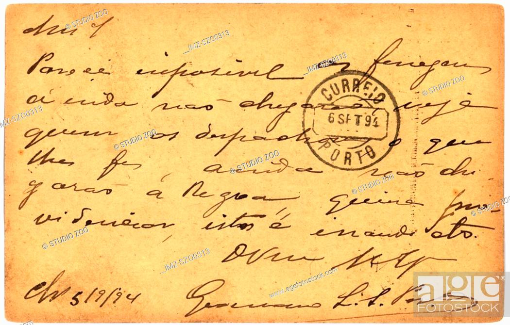 Stock Photo: Vintage postcard with script writing, marked Porto.