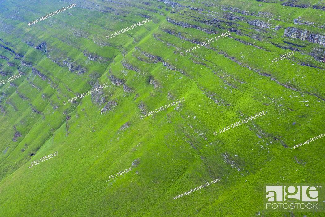 Stock Photo: Aerial view of the spring landscape of rocks and grasslands in the Estacas de Trueba. Vega de Pas, Valles Pasiegos, Cantabria, Spain, Europe.