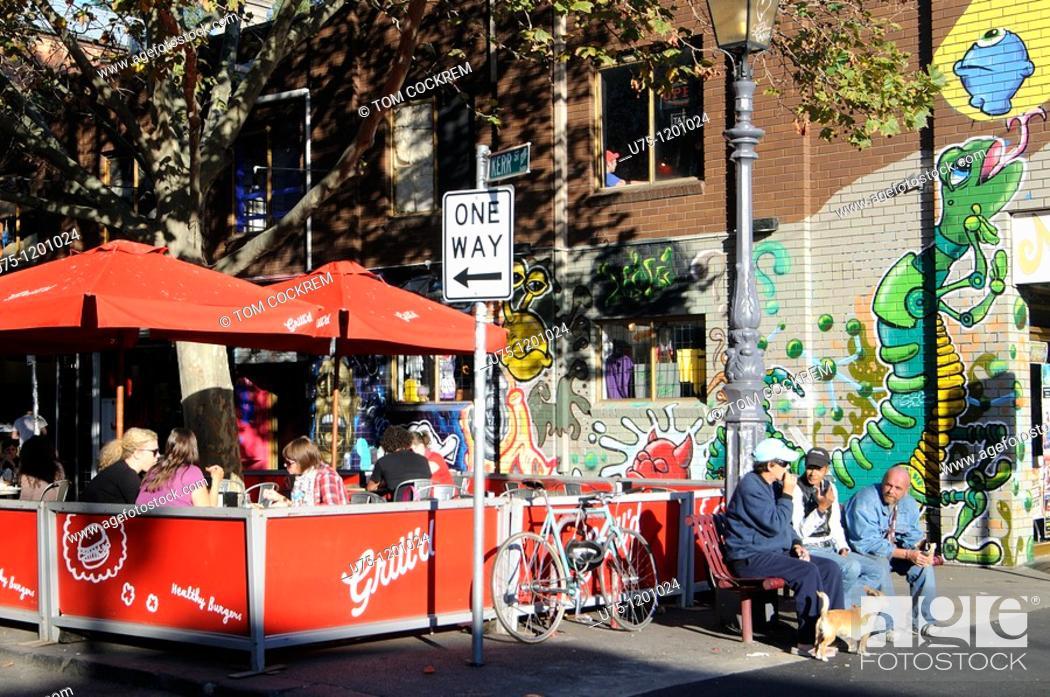 Stock Photo: Cafe, Brunswick Street, Fitzroy, Melbourne Australia.