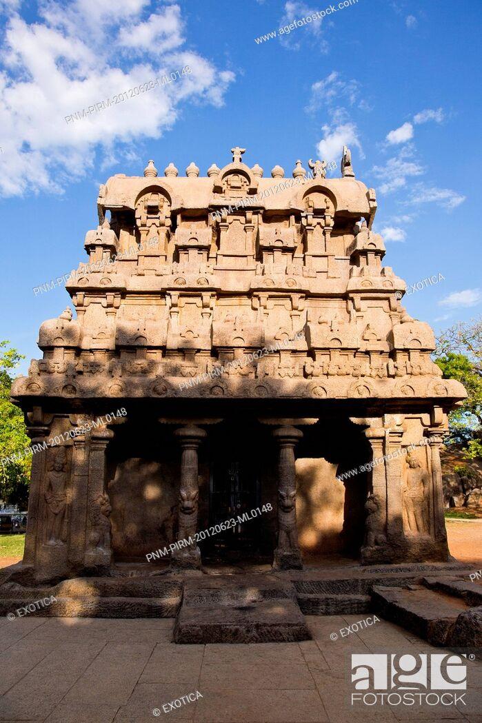 Stock Photo: Ancient Pancha Rathas temple at Mahabalipuram, Kanchipuram District, Tamil Nadu, India.