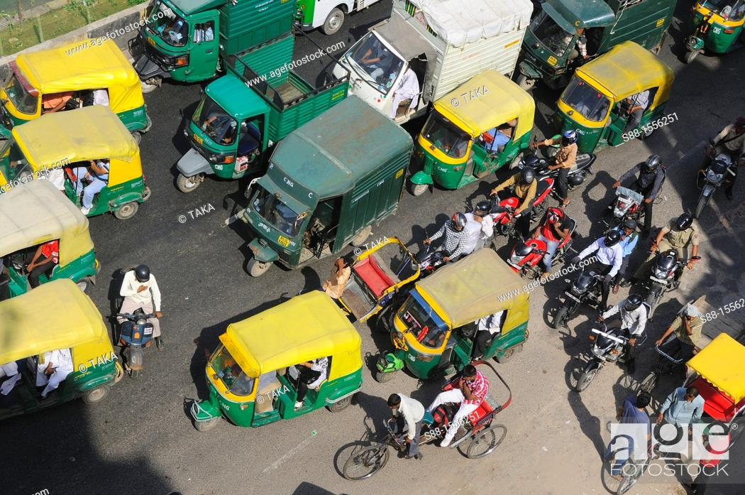 Stock Photo: Heavy traffic in New Delhi.