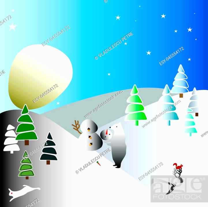 Stock Vector: the moon like a huge snowball (winter landscape).
