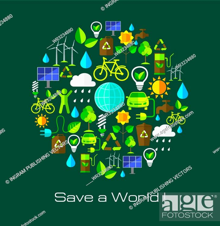 Stock Vector: Environment and ecology banner with flat icons. Technology and nature design elements.