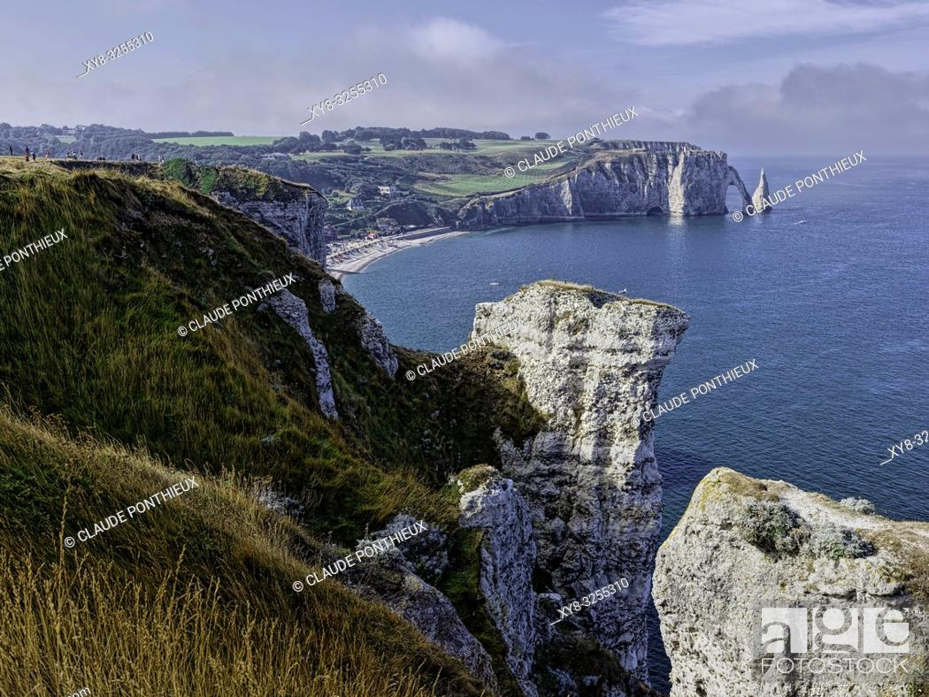 Stock Photo: View from the Porte d'Amont Cliffs with the Falaise d'Aval in the background, Étretat; Normandy; France.