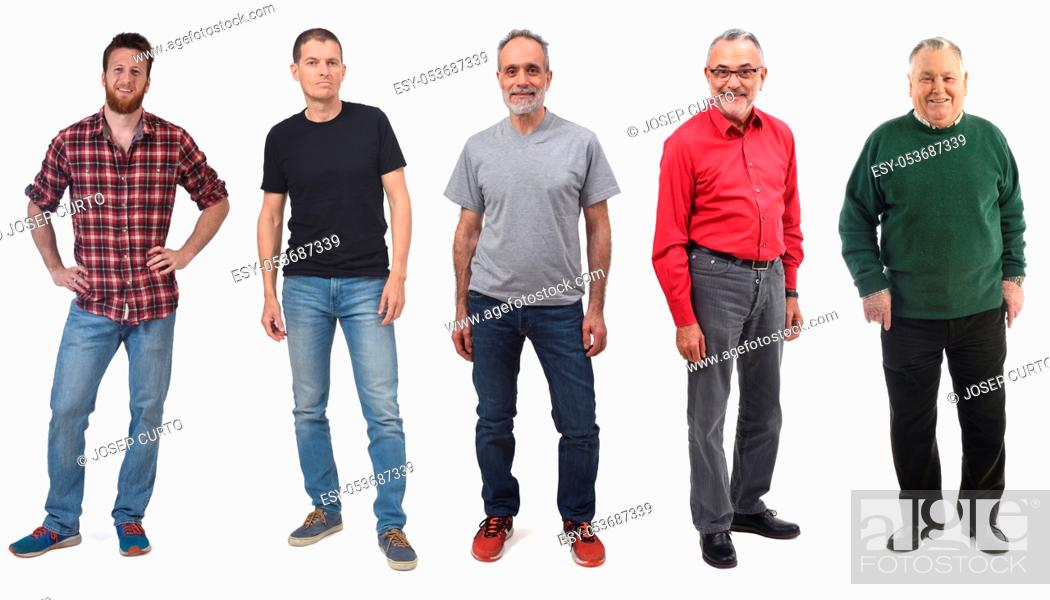 Stock Photo: group of man of different ages in white background.