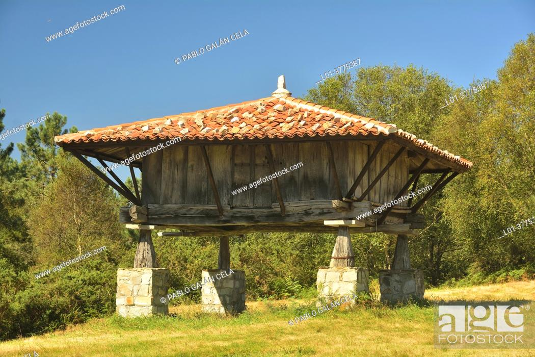 Stock Photo: Hórreo next to the hermitage of San Roque, Ballota, Asturias.