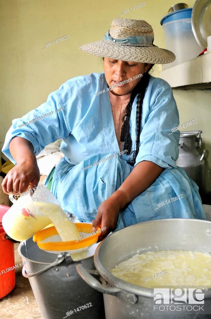 Stock Photo: Woman in the production of fresh cheese in the Penas valley, skimming of the whey, Oruro Department, Bolivia, South America.