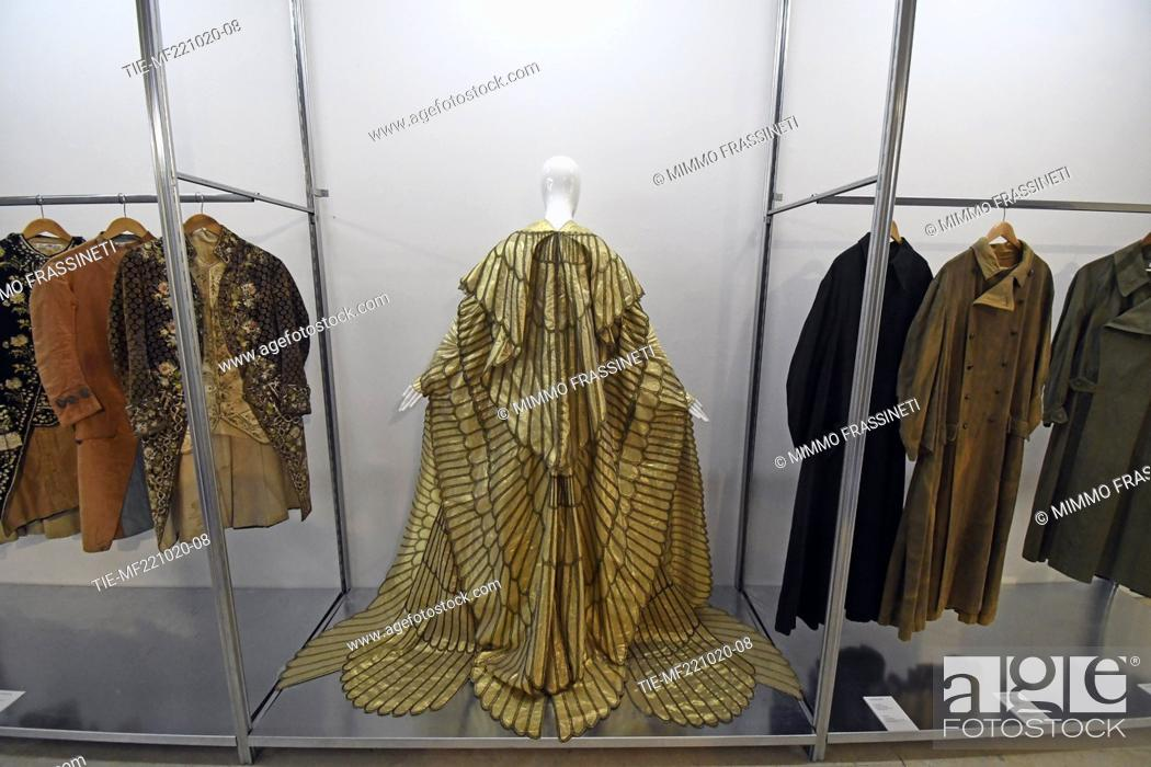 Stock Photo: A view of art costumes at 'Romaison 2020' exhibition featuring archives and creations from Rome's foremost costume design studios , Ara Pacis Museum, Rome.