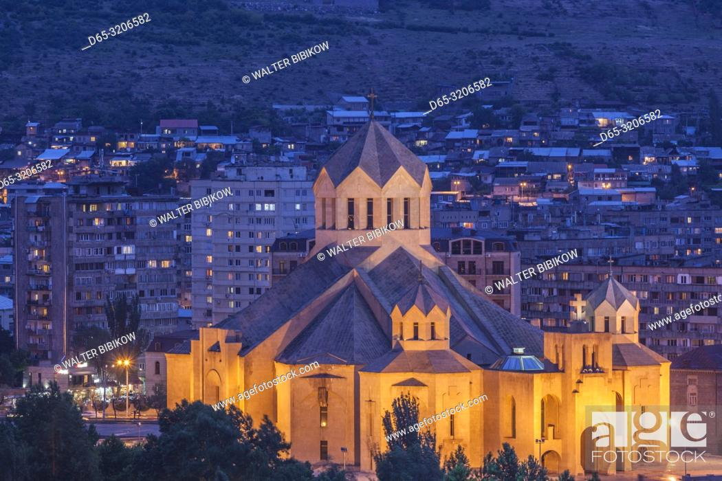 Imagen: Armenia, Yerevan, Surp Grigor Lusavorich Cathedral, exterior, high angle view, dusk.