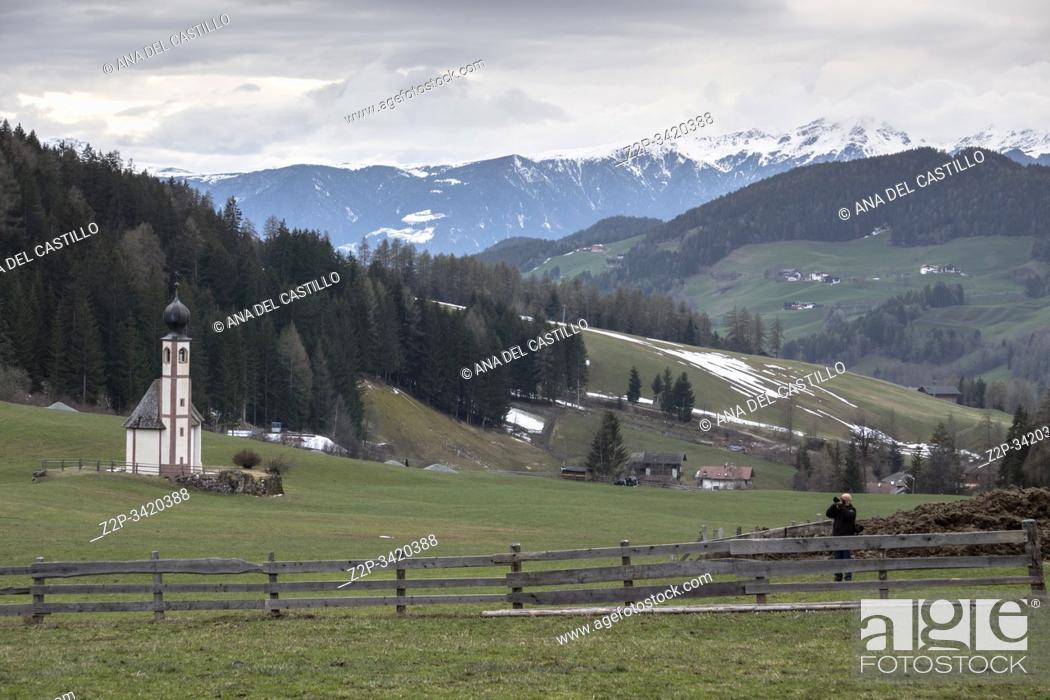 Stock Photo: Santa Maddalena in Val di Funes, - Villnoss, Southtirol North of Italy.