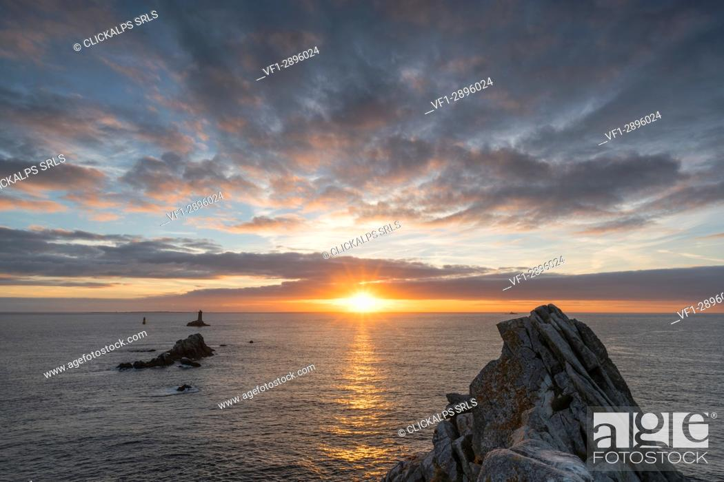 Stock Photo: Vieille lighthouse from Raz point at sunset. Plogoff, Finistère, Brittany, France.