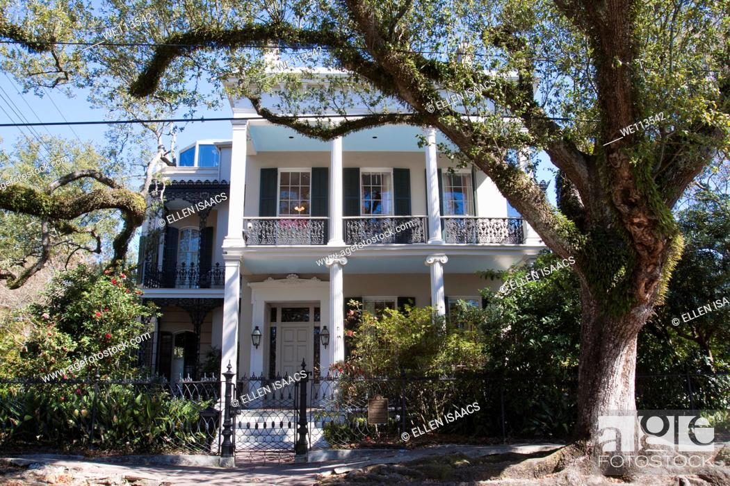 Stock Photo: Famous Brevard-Rice House, former home of Anne Rice, in Garden District of New Orleans.