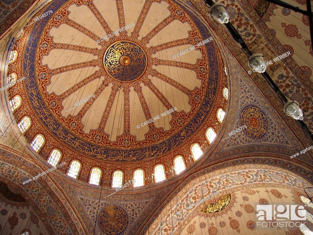 Stock Photo: Ceiling of the Blue Mosque, Istanbul.