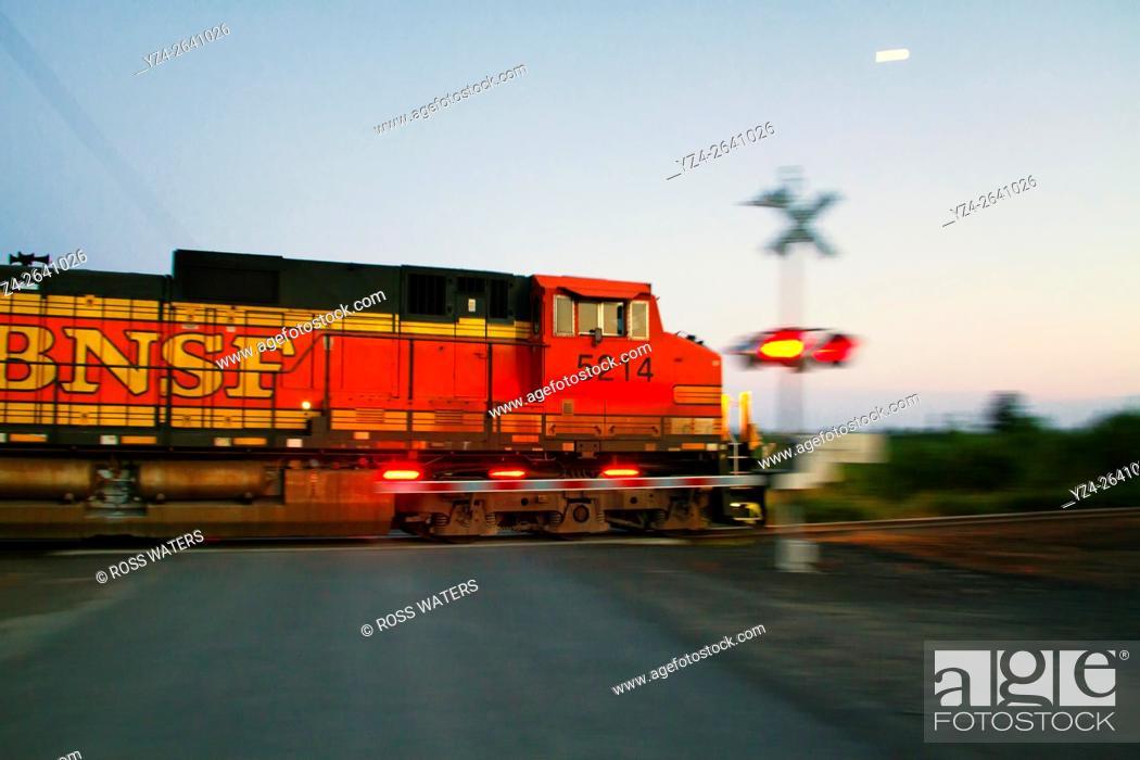 Stock Photo: BNSF train at East Babb siding, Cheney, Washington, USA.