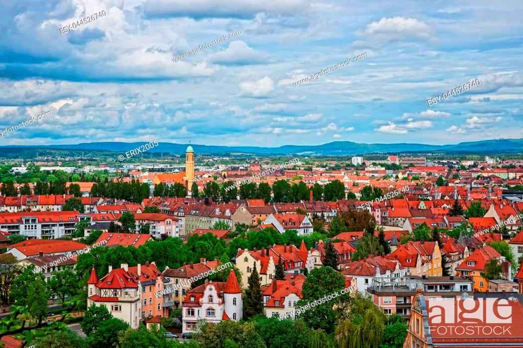 Stock Photo: Panoramic view on old city center of Murich, Germany.