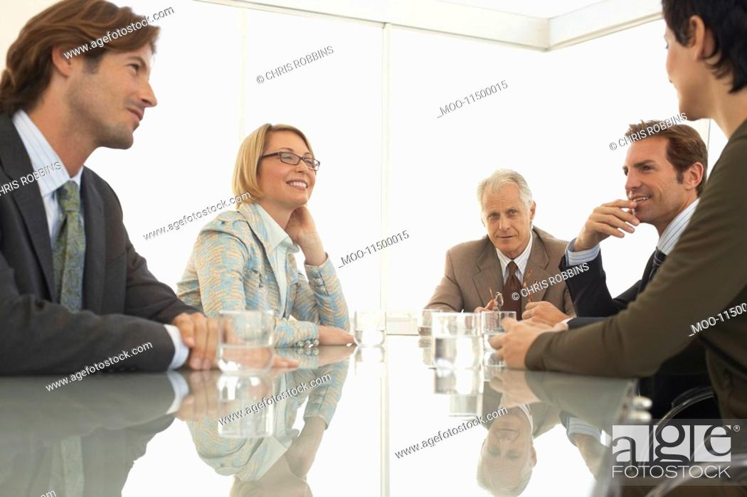Stock Photo: Businesspeople in conference meeting.