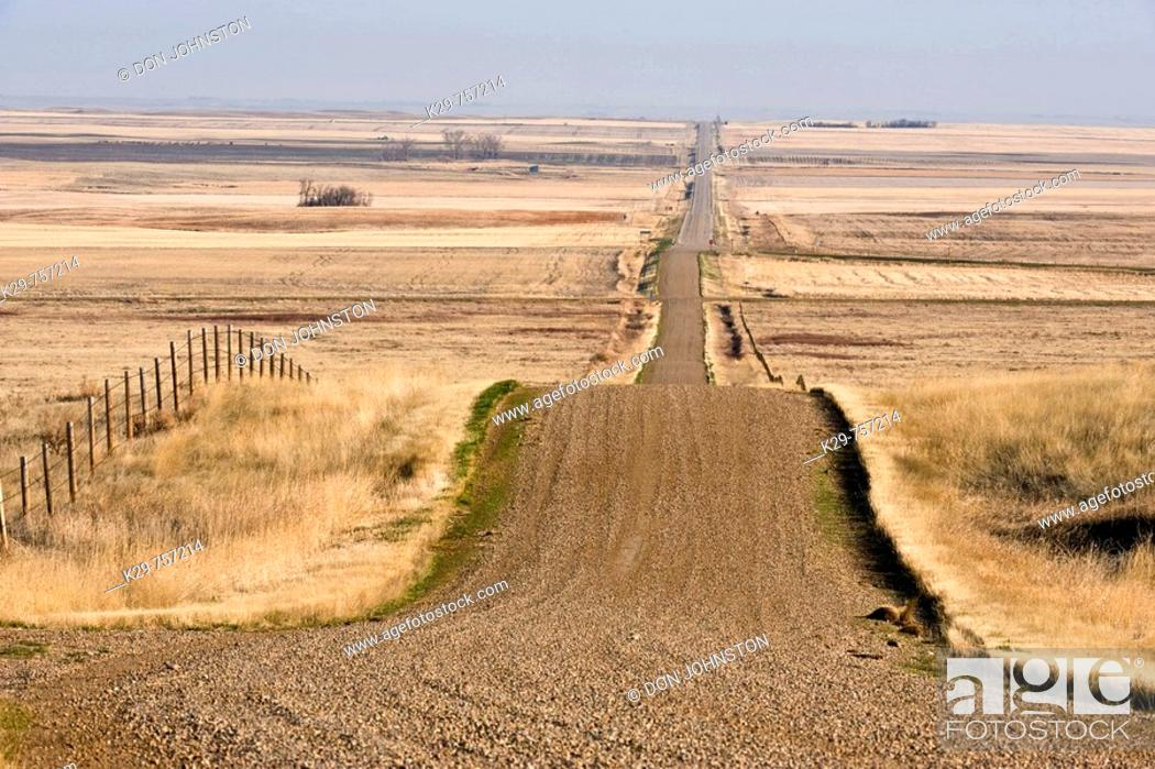 Stock Photo: Country Road in Canadian prairie in early spring, near Seven Persons, Alberta.