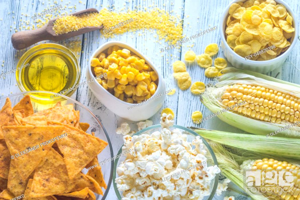 Stock Photo: Variation of maize products.