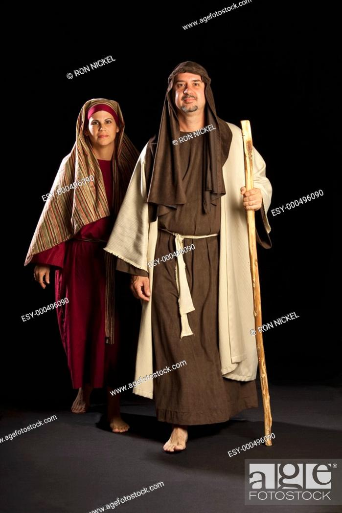Stock Photo: people depicting mary and joseph.