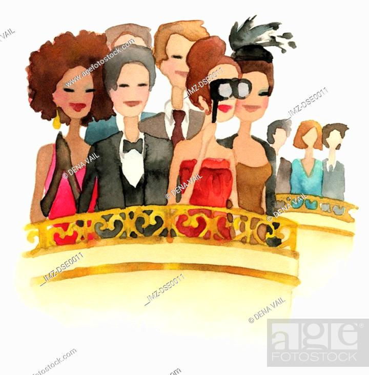 Stock Photo: A watercolor illustration of people watching an opera.