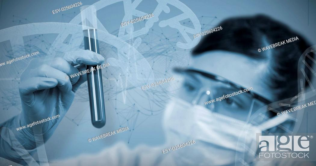 Stock Photo: Composite image of female scientist looking at test tube.