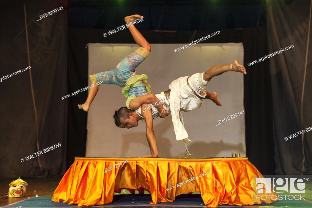 Stock Photo: Cambodia, Battambang, Phar Ponleu Selpak, arts and circus school, acrobats during circus performance, ER.