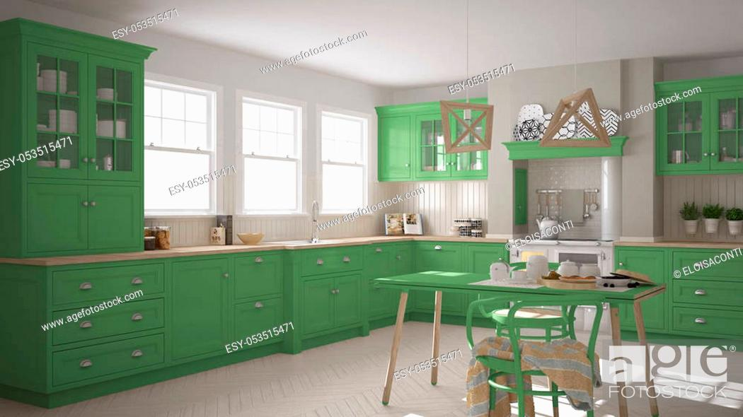 Stock Photo: Scandinavian classic kitchen with wooden and green details, minimalistic interior design.