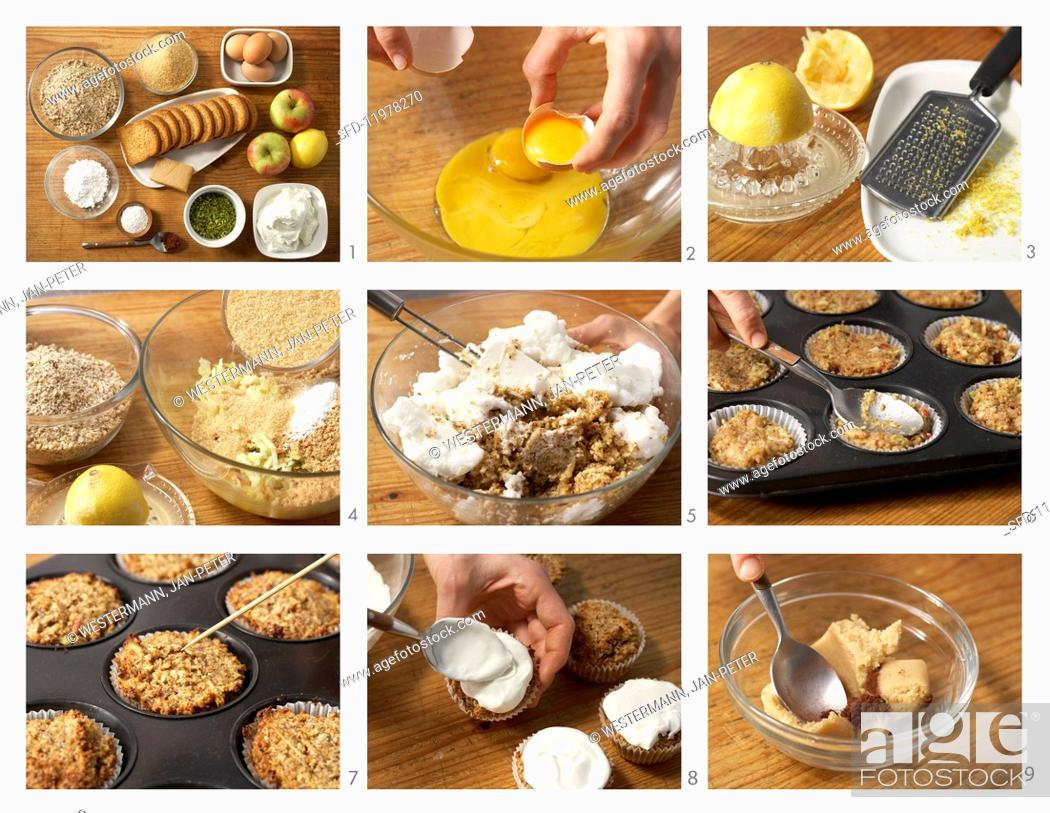 Stock Photo: Apple and hazelnut muffins with pistachio quark for Easter being made.
