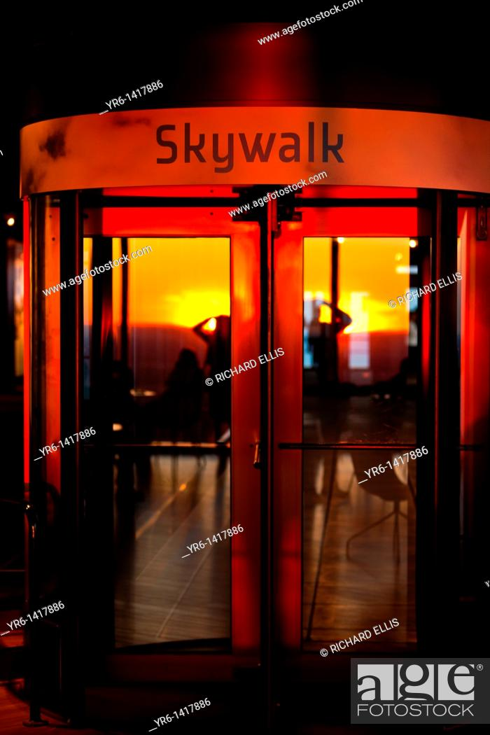 Stock Photo: Sunset from inside the Skydeck of the John Hancock Building in Chicago.