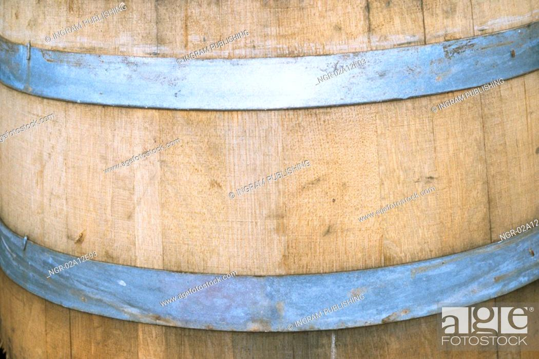 Stock Photo: Close-up of a wooden barrel.