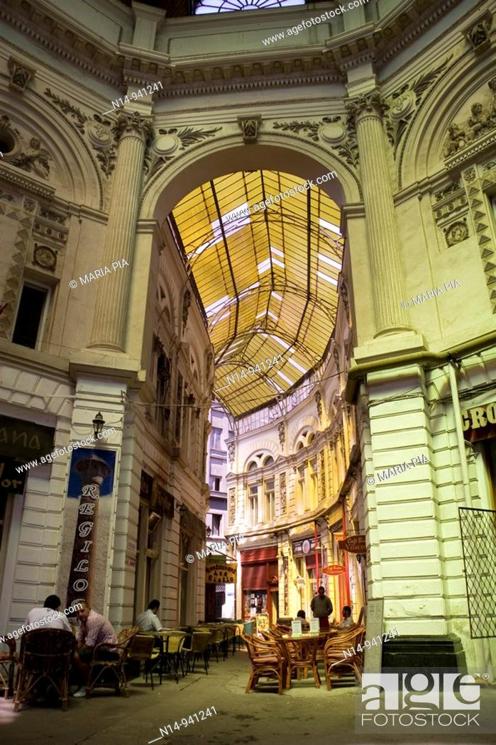 Stock Photo: Passage Villacrosse Macca Bucarest,  galleries with cafes and romanian restaurants.