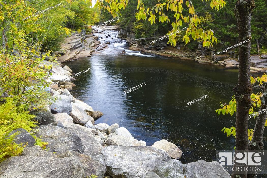 Stock Photo: Lower Ammonoosuc Falls on the Ammonoosuc River in Carroll, New Hampshire during autumn months.
